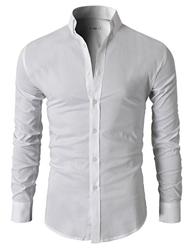 H2H Mens Casual Slim Fit Basic Designed Button Down Shirts WHITE US M/Asia L (KMTSTL0416)