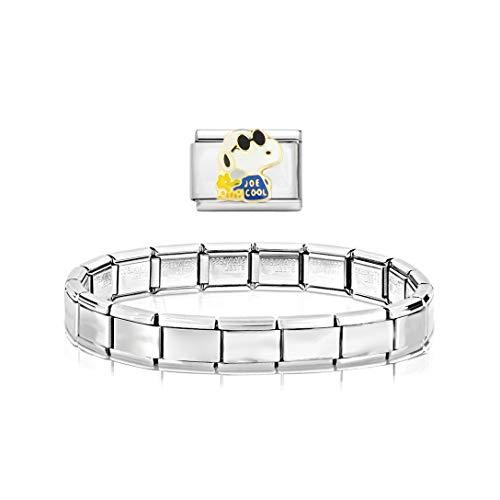 AKKi jewelry Glieder Armband Classic 2 er Set Angebot - in Edelstahl Italy Italian Charms mit anhänger schmuck composable kompatibel Dog