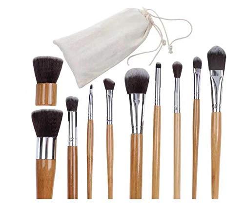 Pinceau De Maquillage Professionnel 11 Poignée De Maquillage En Bambou Brosse Protection De L'Environnement Bois Couleur Sac De Lin Emballage Fondation Brosse