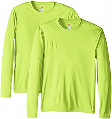 Hanes Men's Long Sleeve Cool Dri T-Shirt UPF 50+, X-Large, 2 Pack ,Safety Green