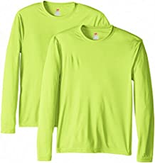 Hanes Men's Long Sleeve Cool Dri T-Shirt UPF 50+, Medium, 2 Pack ,Safety Green