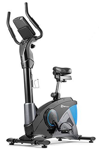 Hop-Sport Heimtrainer Fahrrad HS-090H inkl. Unterlegmatte - Ergometer mit App-Steuerung, 12 Trainingsprogrammen, 32 computergesteuerten Widerstandsstufen - Fitnessbike max. Nutzergewicht 150 kg Blau
