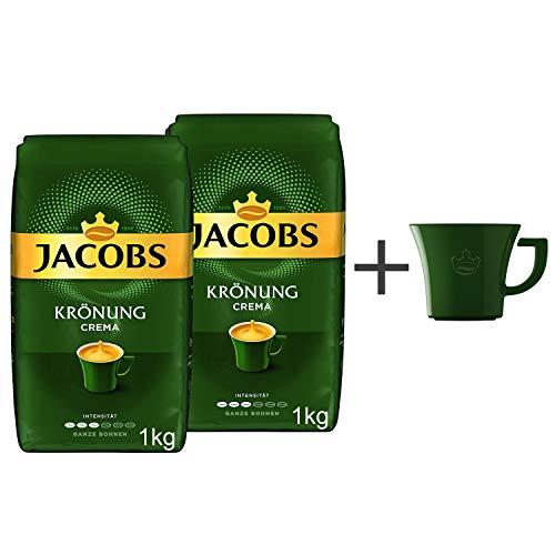 Jacobs Kaffeebohnen Krönung Crema Pack, 2er Pack (2x 1kg Bohnenkaffee), Gratis geschenk: Jacobs kaffeebecher