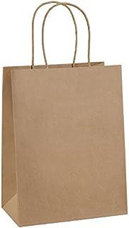 "Paper Bags 8x4.75x10.5"" 100Pcs BagDream Gift Bags,Party Bags,Cub, Shopping Bags, Kraft Bags, Retail Bags, Brown Paper Bags with Handles Bulk"