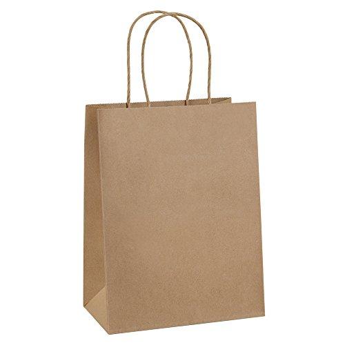 Paper Bags 8x4.25x10.5 100Pcs BagDream Gift Bags, Party Bags, Shopping Bags, Kraft Bags, Retail Bags, Merchandise Bags, Brown Paper Bags with Handles Bulk