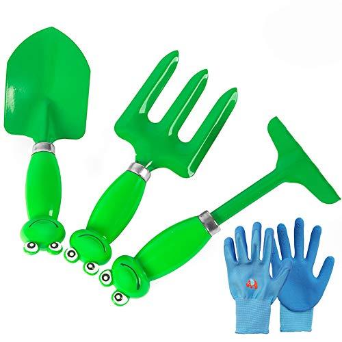 Kids Garden Tool 4 Piece Set, Kit De Jouets De Jardinage De Jardin En Plein Air Plage, Cadeau IdéAl Pour 5-13 Ans GarçOns Filles,Green
