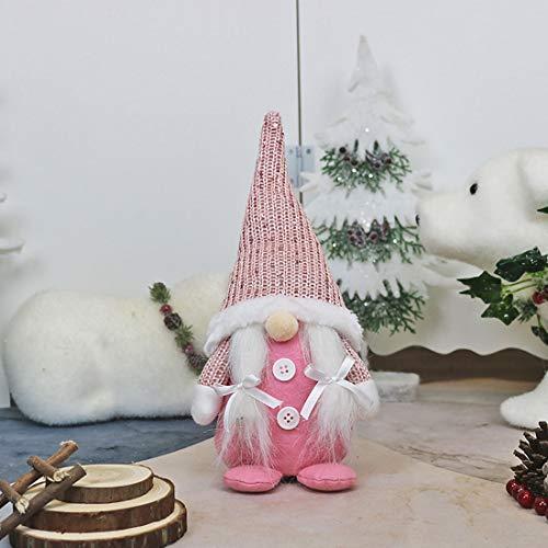 HIZQ Adornos Navideños para Decoración De Ventanas, Decoración Creativa De Muebles, Muñecos Realistas Hechos A Mano De Papá Noel, Adecuados para Halloween Y Navidad,Rosado