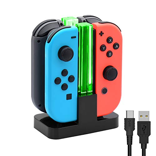 Charging Dock for Nintendo Switch Joy-Con,Charging Station for Nintendo Switch with a USB Type-C Charging Cord- Black