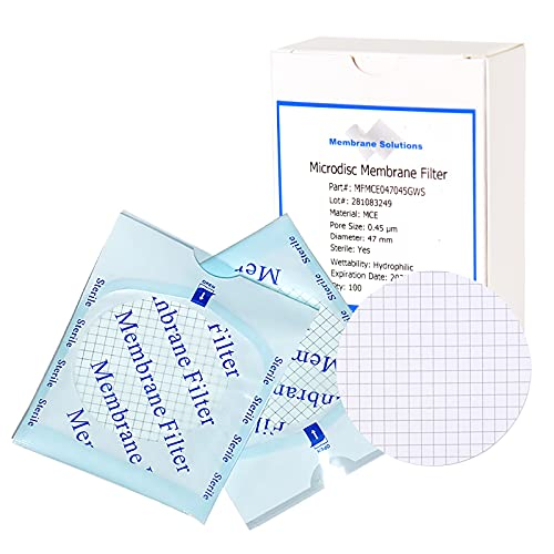 MCE Gridded Membrane Filter, Membrane Solutions Mixed Cellulose Esters Membrane Filter, Sterile Individual Pack Membrane Disc Filter, Diameter: 47 mm, Pore Size: 0.45 um, 100/Pk