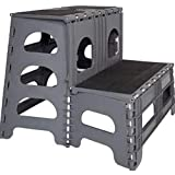Folding/Portable Dog Steps for Large, Medium and Small Doggies - Indoor Outdoor Pet Stairs Ideal for High Bed, Car, SUV & More