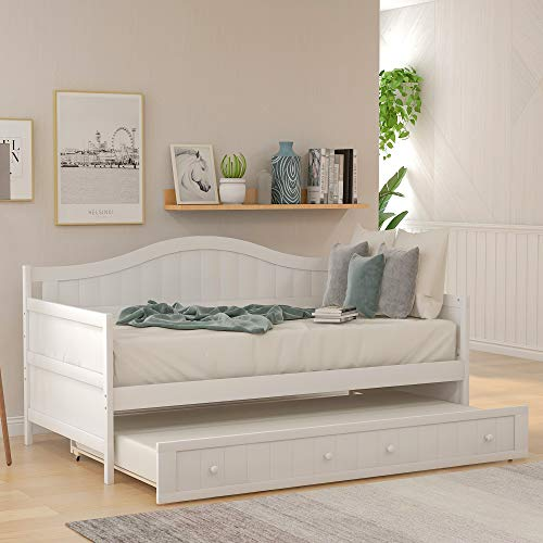 Twin Daybed with Trundle Bed and Armrest, Space-Saving Wooden Sofa Bed for Bedroom Living Room, No Box Spring Needed (White)