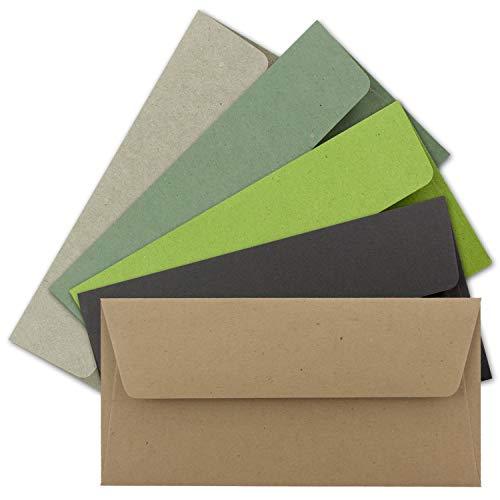50x Brief-Umschläge Farbenmix-Paket DIN Lang - 110 x 220 mm (11 x 22 cm) - Vintage Kraftpapier Natur-Papier Kuverts - Ideal für Einladungs-Karten