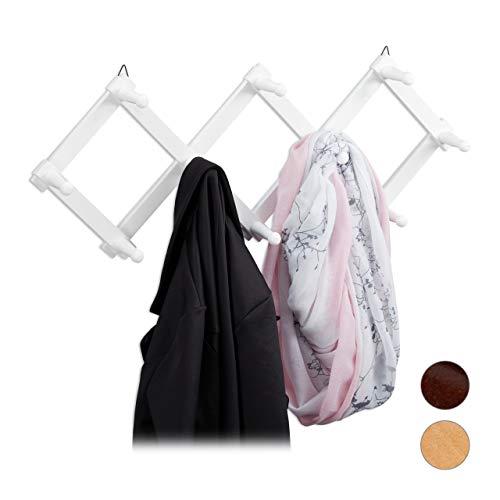 Relaxdays Wandgarderobe Holz, ausziehbare Garderobenleiste, 10 Kleiderhaken, stabil, Scherengarderobe faltbar, weiß, 1 Stück