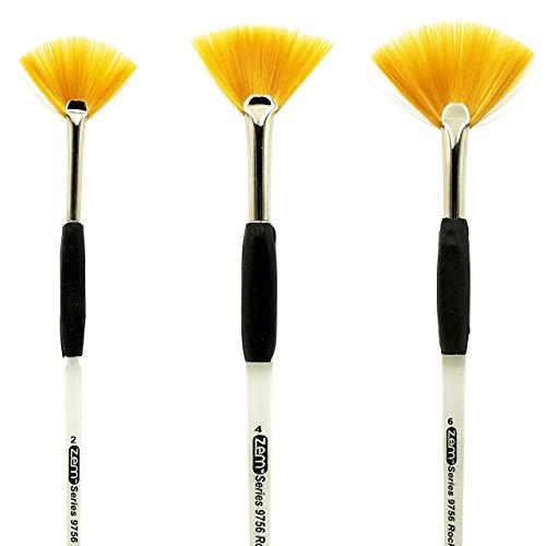 ZEM Brush Rocket Student Gel Grip Ergonomic Fan Short Acrylic Handle Brush Set Sizes 2,4,6