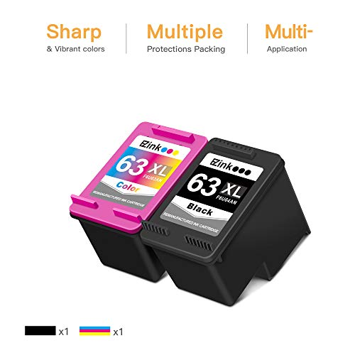 E-Z Ink (TM) Remanufactured Ink Cartridge Replacement for HP 63XL 63 XL to use with Officejet 3830 5255 4650 3833 Envy 4520 Deskjet 1112 3637 3630 3634 Printer (1 Black, 1 Tri-Color)