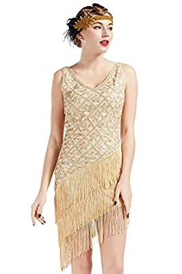 BABEYOND 1920s Vintage Flapper Sequined Dress Gatsby Fringed Dress Roaring 20s Party Dress V-Neck