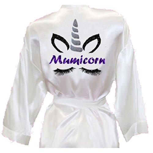 Mumicorn Einhorn Gesicht Glitzer Print Damen Pullover Seide Satin Stil Kimono Robe Bademantel Muttertag Mama Mama Mama Mama Wimpern