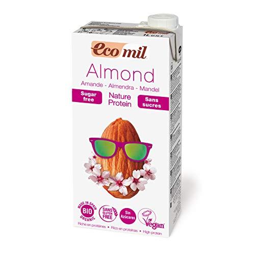 EcoMil Almond Milk Nature ungesüßt mit Protein - 1 l Mandelmilch Bio, vegan