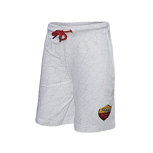 AS Roma Pantalone Corto Bermuda in Cotone Uomo Prodotto Ufficiale Art.13651 (XXL, Bianco)