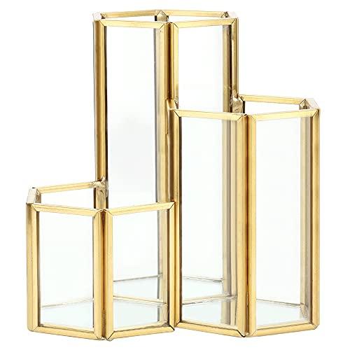 3 Slots Gold Make up Organizer, Stifthalter Make up Pinselhalter Tray Glas Kosmetikbox für Home Office Schreibtisch Dekoration