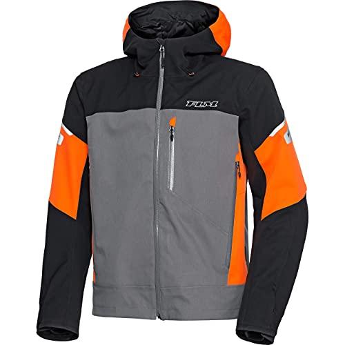 FLM Chaqueta de motorista con protectores 1.0, para hombre, Tourer, todo el año Negro/gris/naranja. L