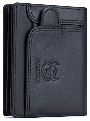 BULLCAPTAIN Men RFID Blocking Bifold Wallet Genuine Leather Card Holder Wallets with 15 Card Slots 1