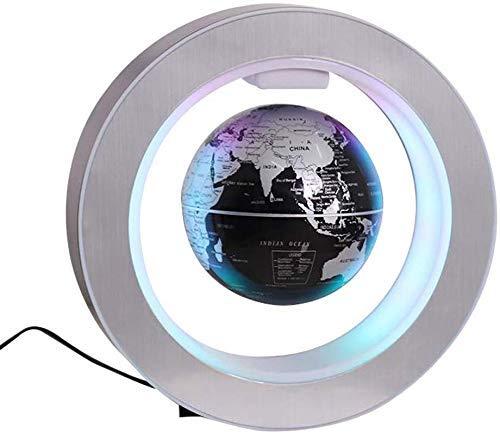 Wifehelper - Globo de levitación magnético, Globo Flotante en Forma de O, Bola de Mapa del Mundo con rotación antigravedad, con levitación magnética con luz LED (EU Plug)