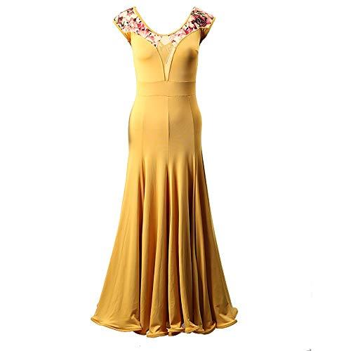 TOT BRQ Kleider Lady Standard-Ballkleid Frau Gesellschaftstanz Wettbewerb Anzug Standard-Waltz Foxtrot Modern Dance Kleid Tango-Kleid (Farbe : Gelb, Größe : L)