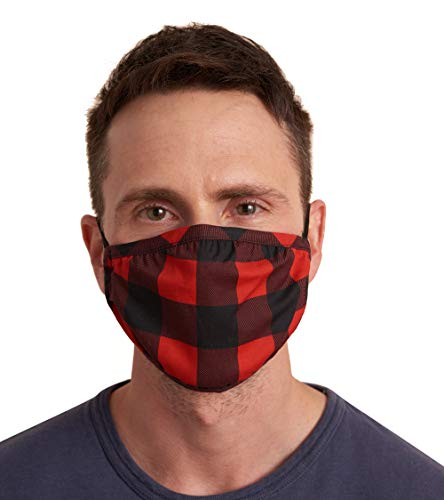 Hatley Double Layer Face Mask with Ear Elastic, Red Buffalo Plaid, One Size