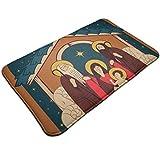 kThrones Alfombra de baño Antideslizante,Adoración de los Magos.Sagrada Familia y Navidad ángel,Alfombra de Ducha(75cmx45cm)