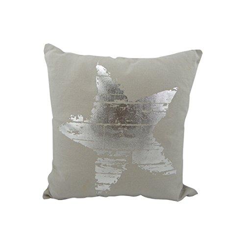 Onbekend Mars & More - kussen - sierkussen - sofakussen - ster - beige/zilver - 100% katoen 45 x 45 cm