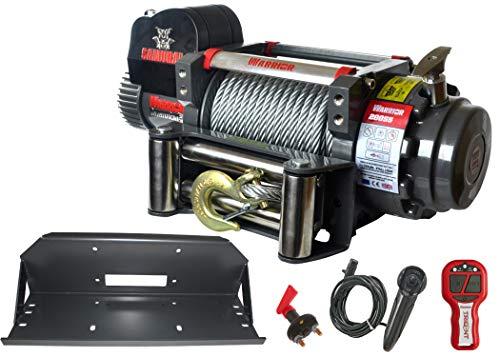 Elektrische Seilwinde Warrior Samurai S 20000 9,1 t 24 V Stahlseil - PROFI SET Funkfernbedienung Montageplatte Offroad ATV UTV Truck