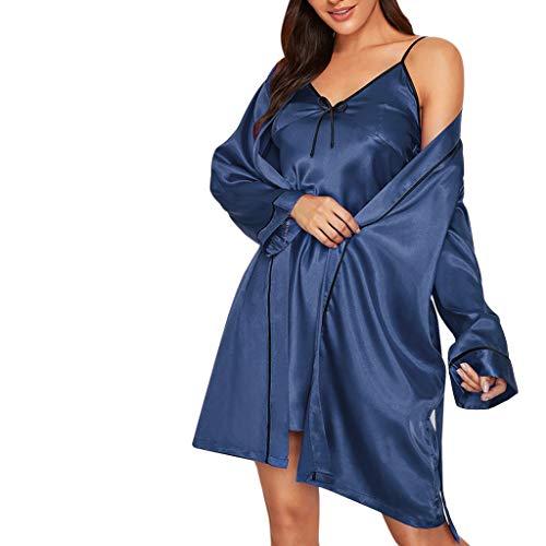 Nachtwäsche 2-teiliges Set Damen, Luotuo Sexy Nachtwäsche Sets Sling Mini Nachtkleid + Plus Size Kimono Nachthemd, Solide Alltagskleidung Lingerie Nightwear Schlafanzug Sleepwear