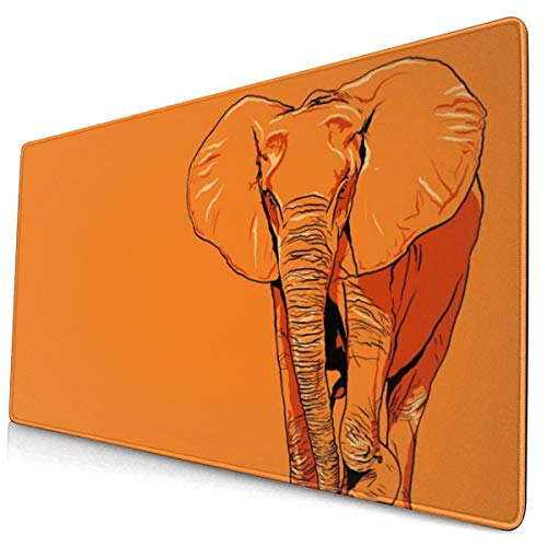 Orange Elephant Design Pattern XXL XL Large Gaming Mouse Pad Mat Long Extended Mousepad Desk Pad Non-Slip Rubber Mice Pads Stitched Edges (29.5x15.7x0.12 Inch)