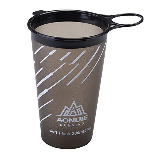 AONIJIE 200 ml Faltbare Weiche Wasser Tasse BPA Frei Trinkbecher für Outdoor Sport Marathon Radfahren Camping Laufen (Grau)