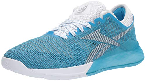 Reebok Women's Nano 9 Cross Trainer, White/Cyan/Silver, 7 M US