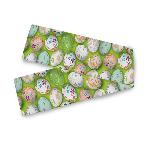 TropicalLife Camino de mesa rectangular F17 con estampado de flores de huevos de Pascua, 33 x 228 cm de poliéster, para decoración de bodas, cocina, fiestas, banquetes, comedores, mesas de centro