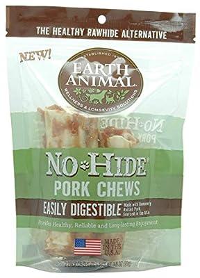 Earth Animal No Hide Pork Chews 4 inch 2 Pack Dog Treats. The Safe Alternative to Rawhide.
