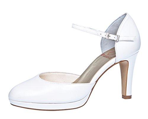 Fiarucci Brautschuhe Lani - Pumps High Heels Leder - Tanzschuhe mit Riemchen - Gr 39.5 EU 6.5 UK