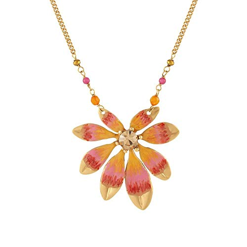 Eternal Collection Biarritz Orange Enamel Gold Tone Statement Necklace Orange 42