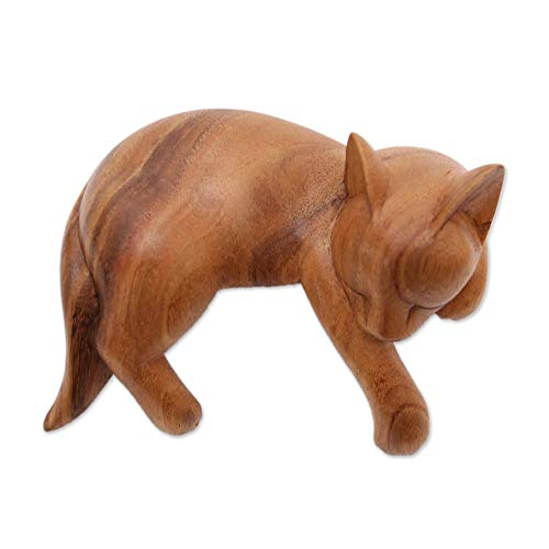 NOVICA Brown Wood Animal Themed Sculpture from Indonesia 'Snoozing Cat'