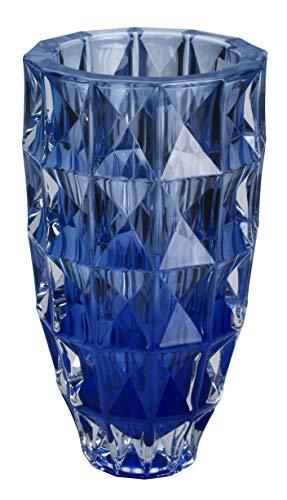 Vaso Diamond Crystal Em Cristal Ecologico D14, 5xa28cm Cor Azul Bohemia Transparente No Voltagev