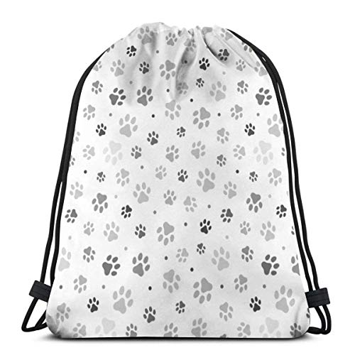 Lsjuee Animal Paw Drawstring Backpack Sport Bags Cinch Tote Bags for Traveling and Storage for Men and Women 17x14 inch