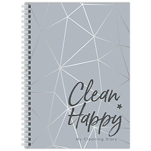 My Cleaning Diary, 12 Months, Week-to-View, Undated, Colourful, A5, Planner, Notebook, Checklist, Organiser, Book, to Do - (Grey)