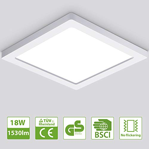 Oeegoo 18W Led Lámpara de techo Cuadrado, 1530lm Plafón Led luz de techo ultra delgado1.3cm, para Dormitorio Cocina Sala de estar Comedor Balcón Pasillo Blanco Natural 4000K