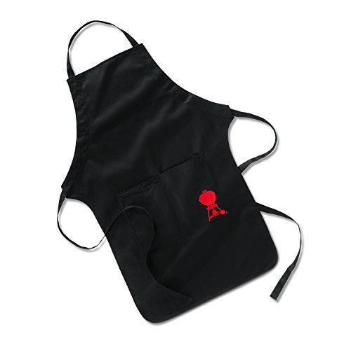Weber Grillschürze mit Stickerei 6533 Schwarze Grillschürze mit großen Taschen für Grillbesteck