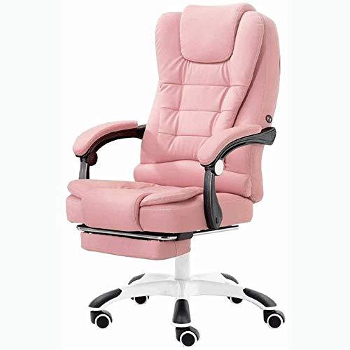 HMBB Sillas de Escritorio, Silla de Oficina, Soporte del Asiento ergonómico Silla de Oficina y retráctil reposapiés Grado de Ajuste del Respaldo espesantes Esponjas (Color : Pink)