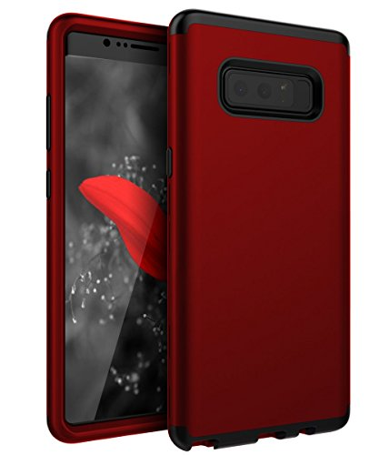 SKYLMW Three Layer Heavy Duty High Impact Resistant Hybrid Protective Cover Case for Samsung Galaxy Note 8 Red