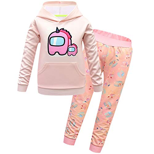 TOP Fighting Among us You Look Tracksuit Youth Hoodie and Sweatpants Suit Outfit Fashion Sweater(Among us Pink 160(13-14Y))