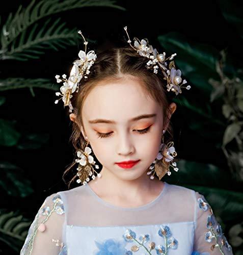 Kinderen Haar Clip Oorbellen Headdress Set Meisje Bloem Haar Clip Show Catwalk Prinses Haaraccessoires Photo Studio Fotografie Sieraden